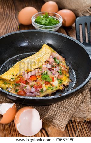 Frypan With Ham And Cheese Omelette