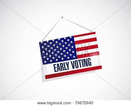 Early Voting Us Flag Banner Illustration