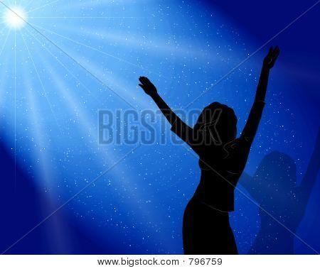 The girl dances in moonlight