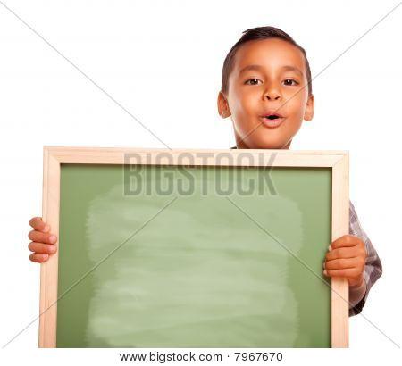 Cute Hispanic Boy Holding Blank Chalkboard