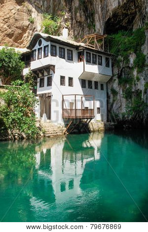 Dervish house in Blagaj Buna near to Historical Mostar in Bosnia and Herzegovina  poster