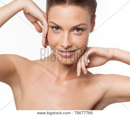 closeup portrait of attractive  caucasian smiling woman brunette isolated on white studio shot lips toothy smile face  head and shoulders looking at camera armpit axillary space