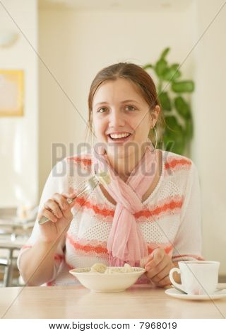 Girl  Eating Dumplings