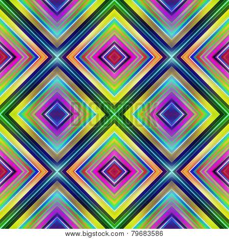 Multicolored diamond shape tiles seamless illustration.