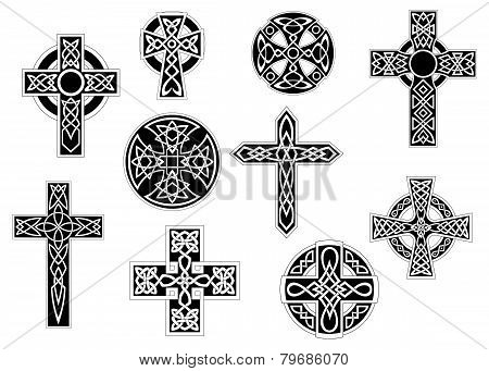 Set of black and white vintage decorative Christian crosses, symbol of Christianity, isolated on white poster