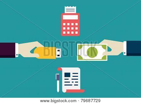 Vector Concept Of E-commece. Customer Pays Freelancer