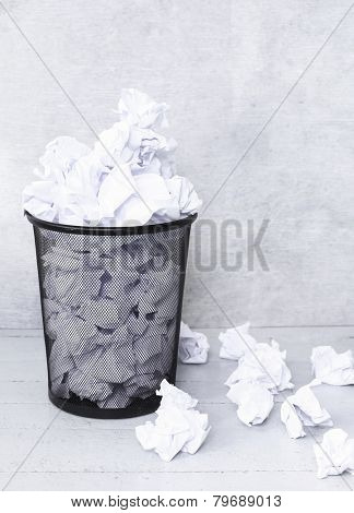 Recycle. Crumpled paper in the trash can
