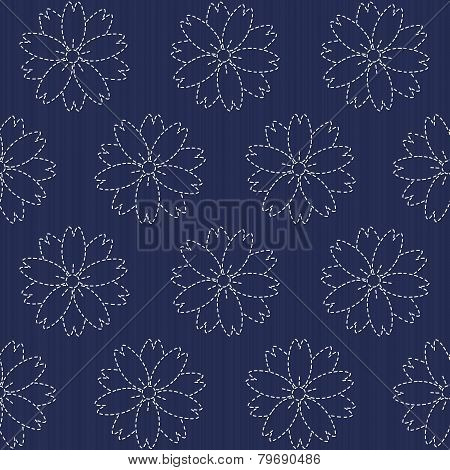 Traditional Japanese Embroidery Ornament with blooming sakura flowers. Vector seamless pattern. Sashiko motif - blooming cherry flowers. Floral backdrop. Needlework texture. poster