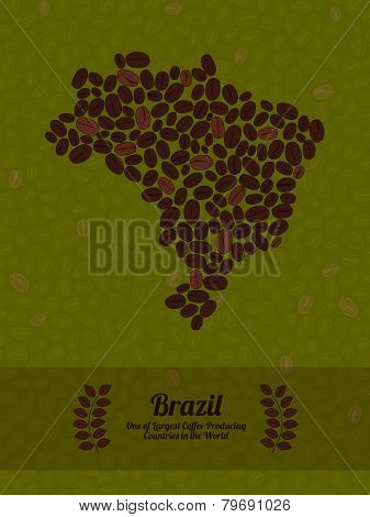 Brazil map made of roasted coffee beans. Vector illustration.