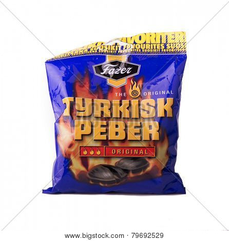 DEPEW, OK, USA - January 8th, 2015: Photo of a 150g bag of Tyrkisk Peber Original liquorice candy made by Fazer. Fazer is one of the largest corporations in Finnish food industry.
