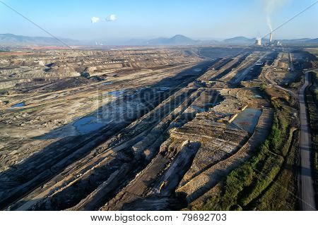 Very Large Excavators At Work In Lignite (brown Coal) Mine In Kozani, Greece.