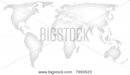 White minimalist map of the world