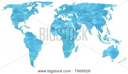Watery map of the world