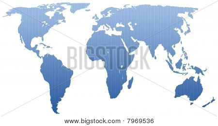Blue striped map of the world
