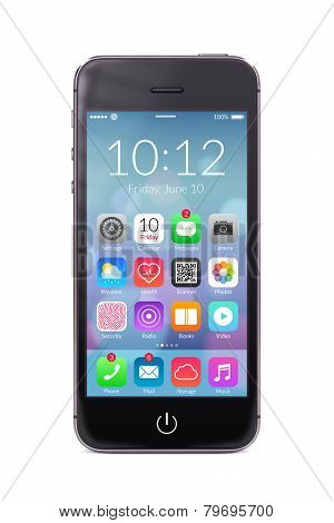 Black Modern Smartphone With Application Icons On The Screen