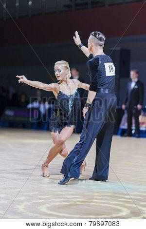 Belarussian dance couple of Kosyakov Egor and Belmach Anastasiya performs Adult Latin-American progr