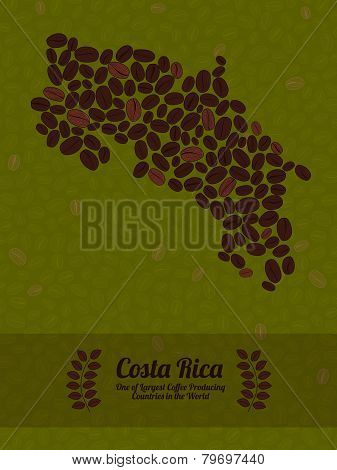 Costa Rica map made of roasted coffee beans. Vector illustration.