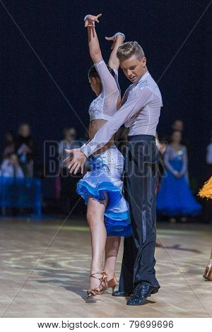Professional belarussian dance couple of Bachilo Egor and Kravchenko Anna performs Youth-2 Latin-Ame