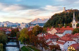 Sunset in Ljubljana, capital of Slovenia