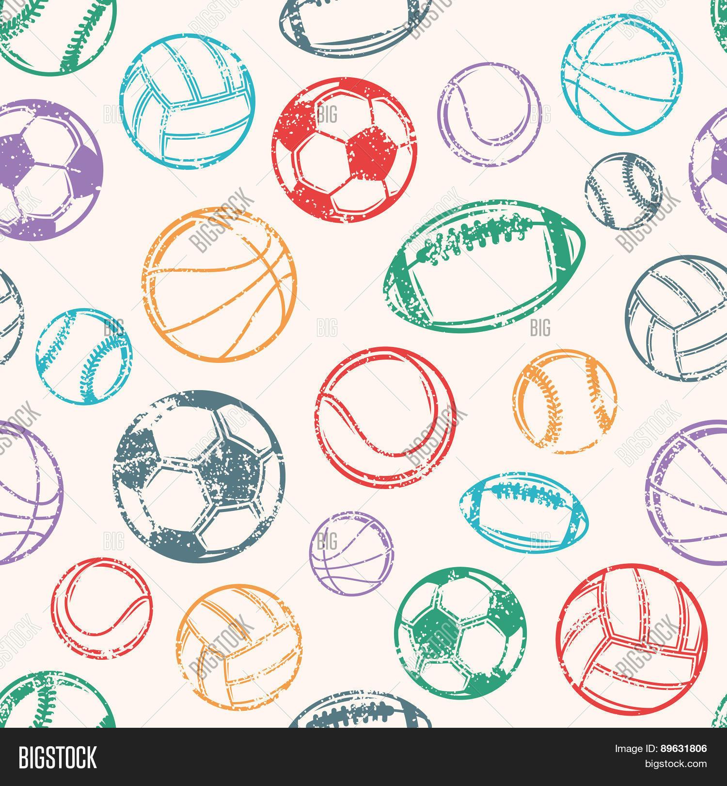 Sports Balls Grunge Background Seamless Pattern