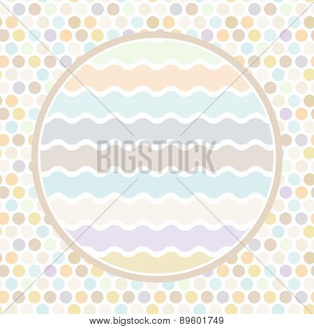 Design Cards Circle For Your Text Polka Dot Background, Pattern. Pastel Color Dot On White Backgroun