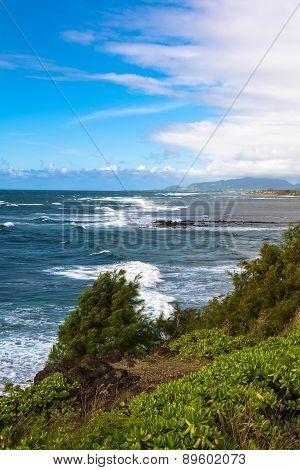 The coast along Wailua, Kauai, Hawaii