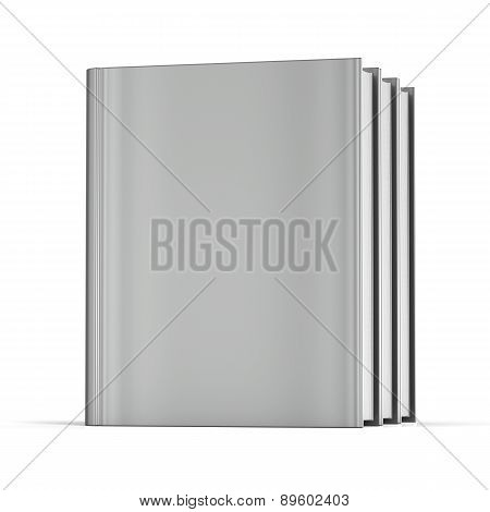 Book Blank Cover Three Standing White