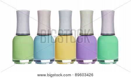 Set Of Colorful Spring Pastel Nail Polishes Isolated On White