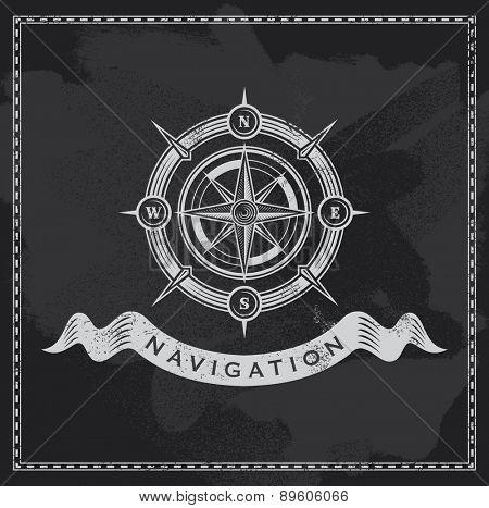 Vintage nautical compass. Chalkboard wind rose vector design.