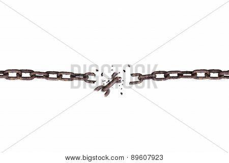 Broken Rusty Iron Chain Isolated On White
