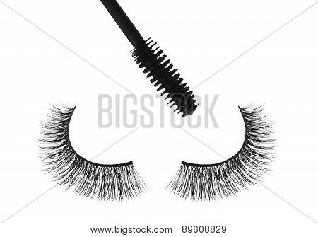 Black false eyelash and mascara isolated on white background poster