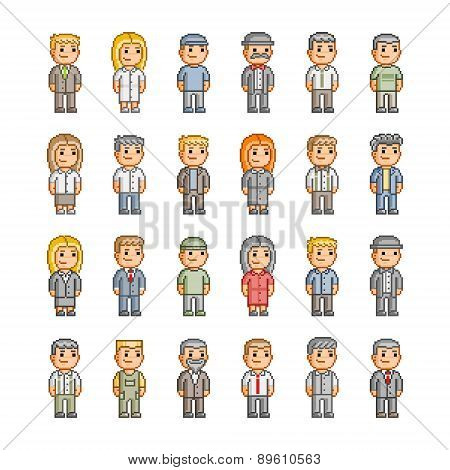 Pixel collection of smiling people