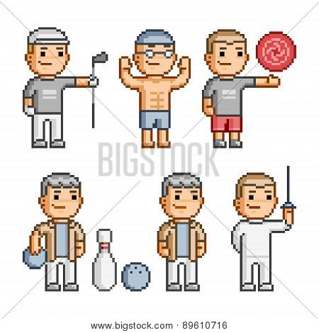 Pixel art collection of various sports