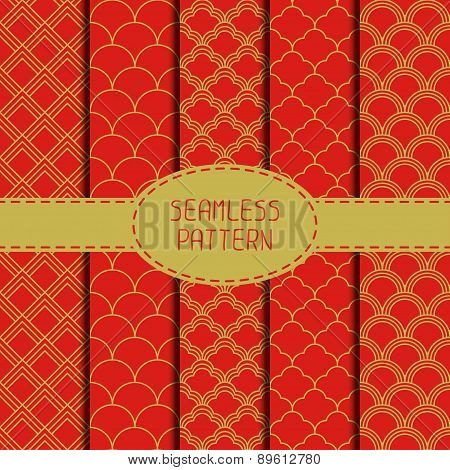 Set of geometric national chinese seamless pattern. Collection of wrapping paper. Paper for scrapboo