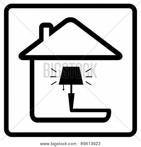 lamp on home. icon from the set line style