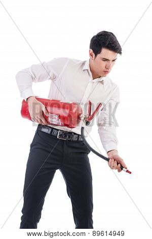 Young Man Holding Fire Extinguisher