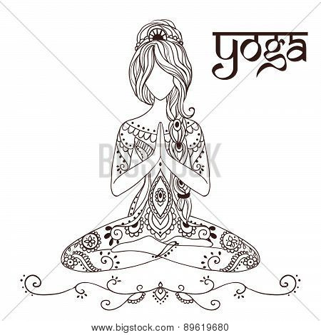 Ornament beautiful card with Vector yoga