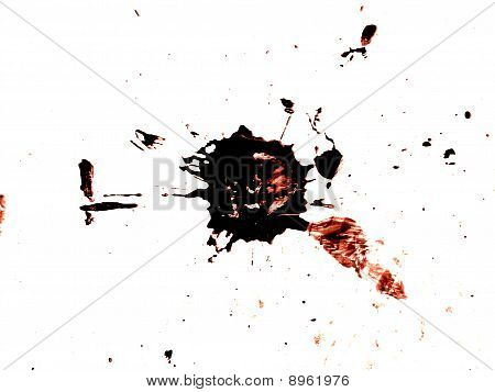 Grungy Red And Black Blood Splatter Isolated On White