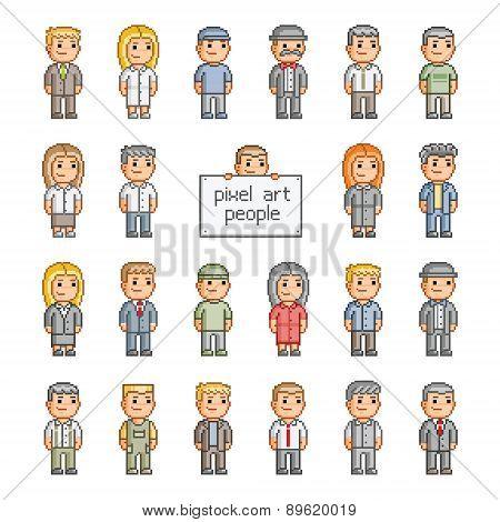 Pixel set of people
