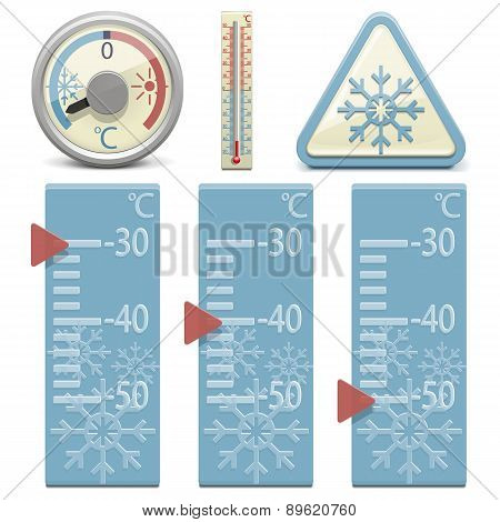 Vector Thermometer and Snow Sign