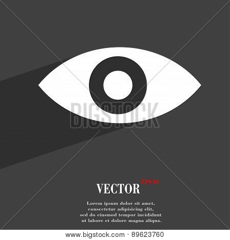 Eye, Publish Content, Sixth Sense, Intuition Icon Symbol Flat Modern Web Design With Long Shadow And