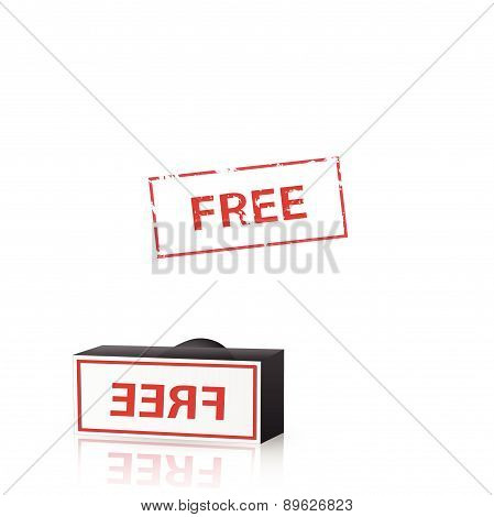 Illustration of a free stamp isolated on a white background.