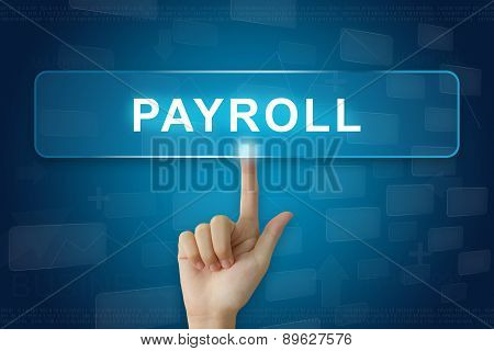 Hand Press On Payroll Button On Touch Screen