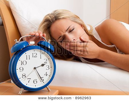 Sleepless With Clock In The Night. Wife Could Not Sleep.