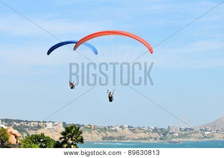 Parachutes flying by the ocean on a sunny day in Lima, Peru