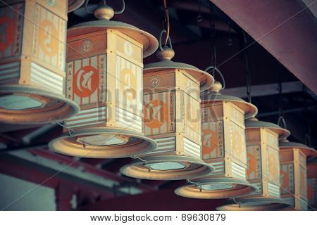 OSAKA, JAPAN - MAY 11: Lanterns lined up in Temple on May 11, 2013 in Osaka. Constructed in 593, Shitennoji is the oldest and the first Buddhist temple in Japan.