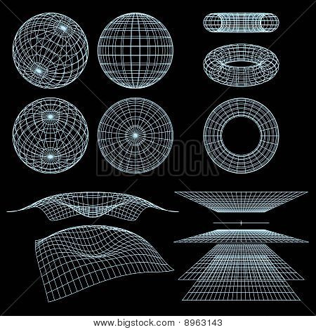 Geometry, Mathematics And Perspective Wireframe Symbols. Vector Illustration.