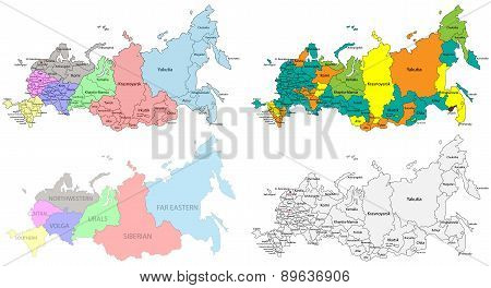 Political and regional map of Russia.