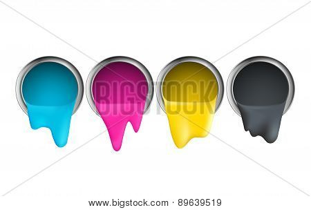 Buckets With Cyan Magenta Yellow Black Paint