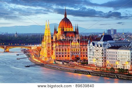 Budapest Hungary parliament at night with Danube river poster